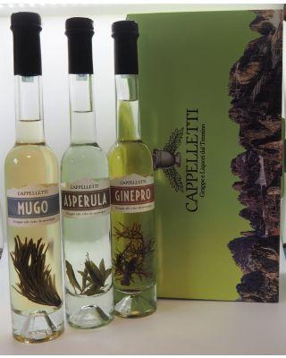 cofanetto  3 grappe aromatizzate lt. 0,20